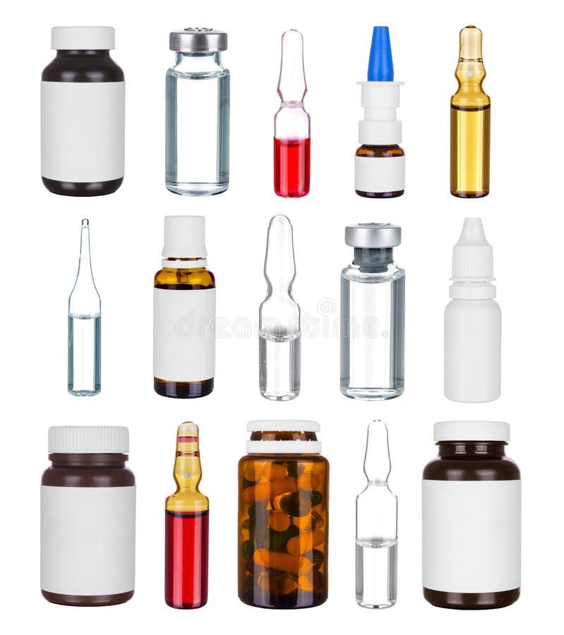 Samlingen av medicinflaskor och ampules royaltyfri fotografi
