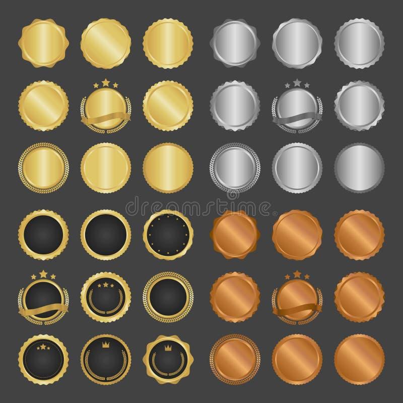Samlingen av modern guld- cirkelmetall förser med märke, etiketter och designbeståndsdelar också vektor för coreldrawillustration arkivbild