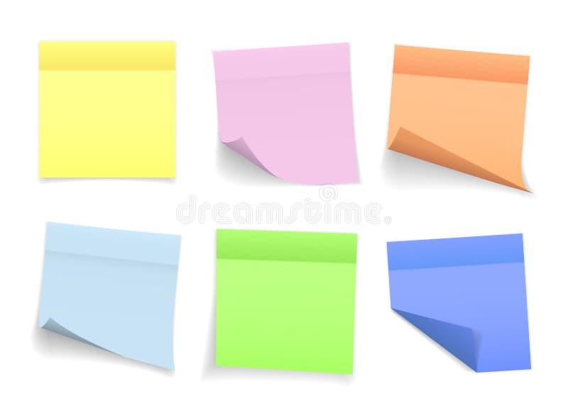 Samlingen av olika kulöra ark av anmärkningslegitimationshandlingar med det krullad hörnet och skugga, ordnar till för ditt medde vektor illustrationer