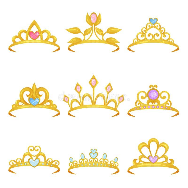Samlingen av olika kunglig personkronor dekorerade med skinande gemstones Guld- prinsessatiara Dyrbar tillbehör för kvinnor s royaltyfri illustrationer