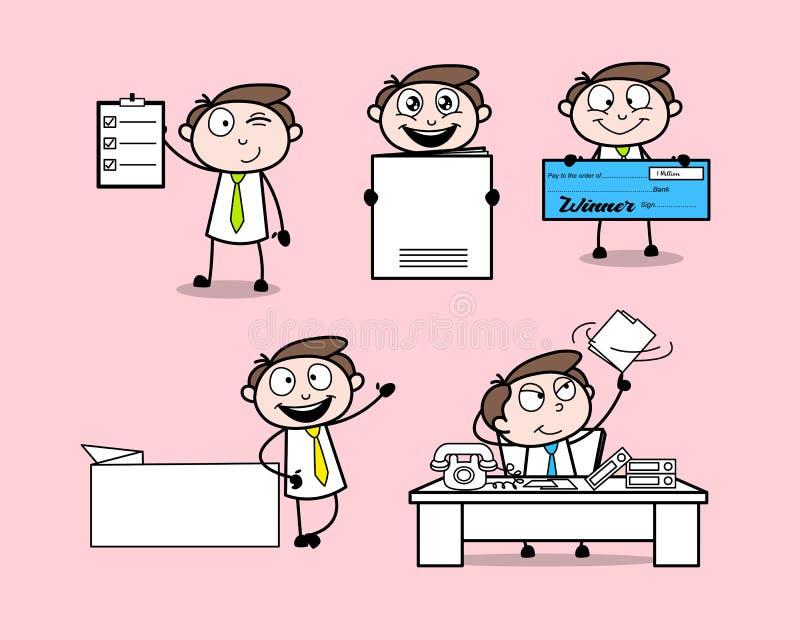 Samlingen av olikt lyckligt poserar den yrkesmässiga affärsmannen för tecknade filmen vektor illustrationer