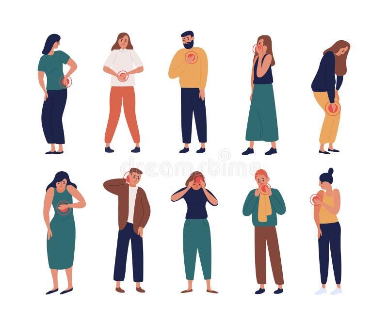 Samlingen av olyckligt lida för folk smärtar eller gör ont i olika kroppsdelar - bröstkorgen, halsen, benet, baksida, arm Ställ i royaltyfri illustrationer