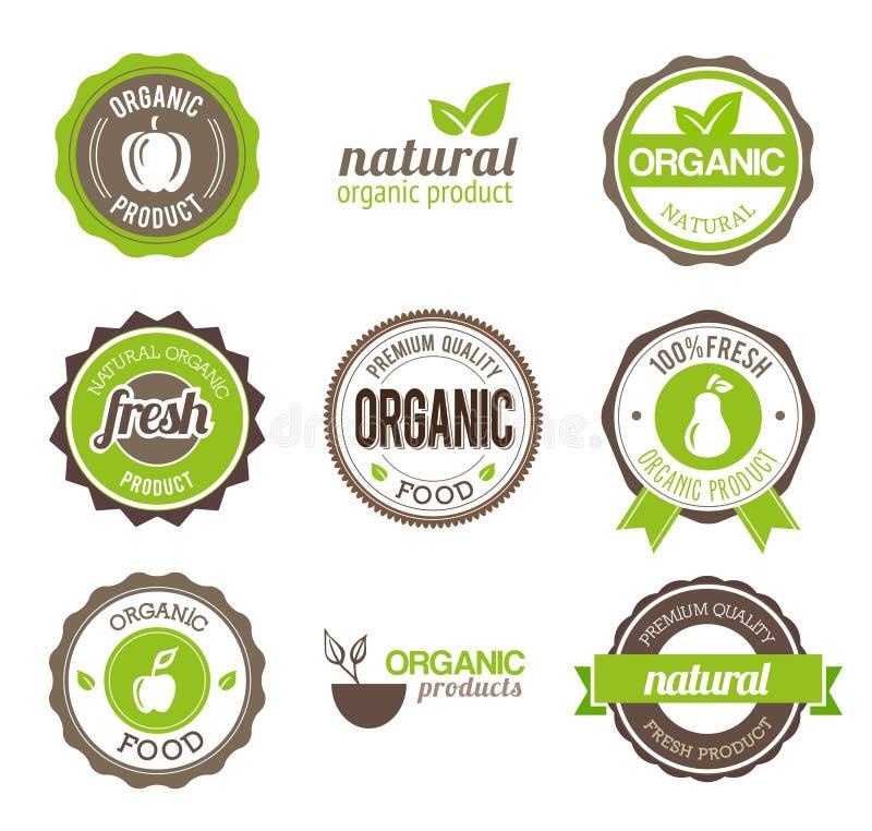 Organiska Eco emblem stock illustrationer