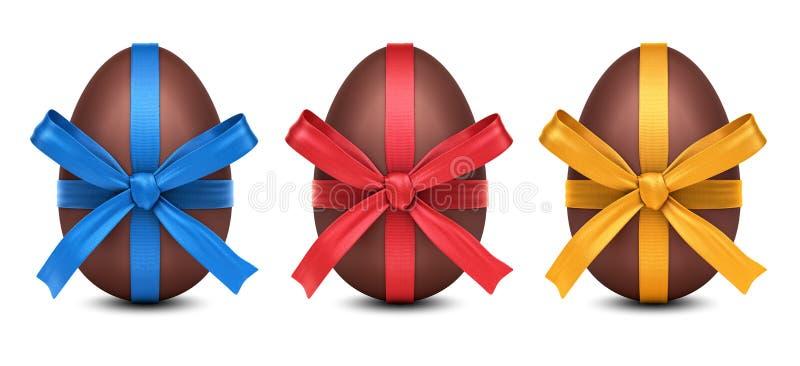 Samlingen av påskägg för choklad 3D med det färgrika bandet bugar stock illustrationer