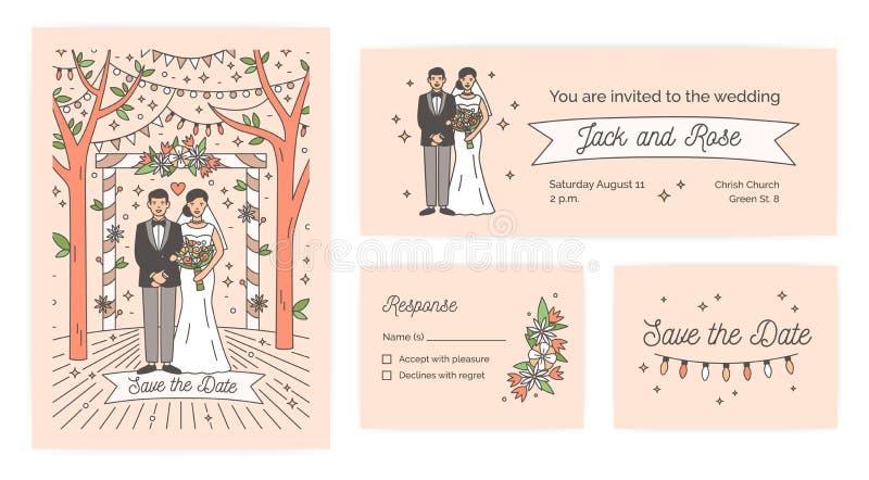 Samlingen av räddning datumkortet, inbjudan för bröllopceremoni och svaret noterar mallar med den gulliga tecknad filmbruden och stock illustrationer