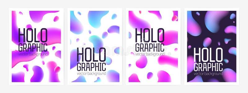 Samlingen av stilfulla holographic bakgrunder eller bakgrunder med abstrakta former eller lutningen färgade rundade fläckar och vektor illustrationer