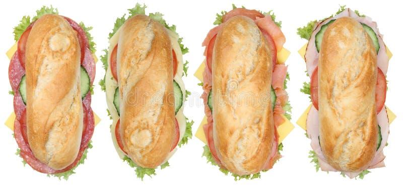 Samlingen av suben skjuter in bagetter med salami, skinka och chee royaltyfri illustrationer
