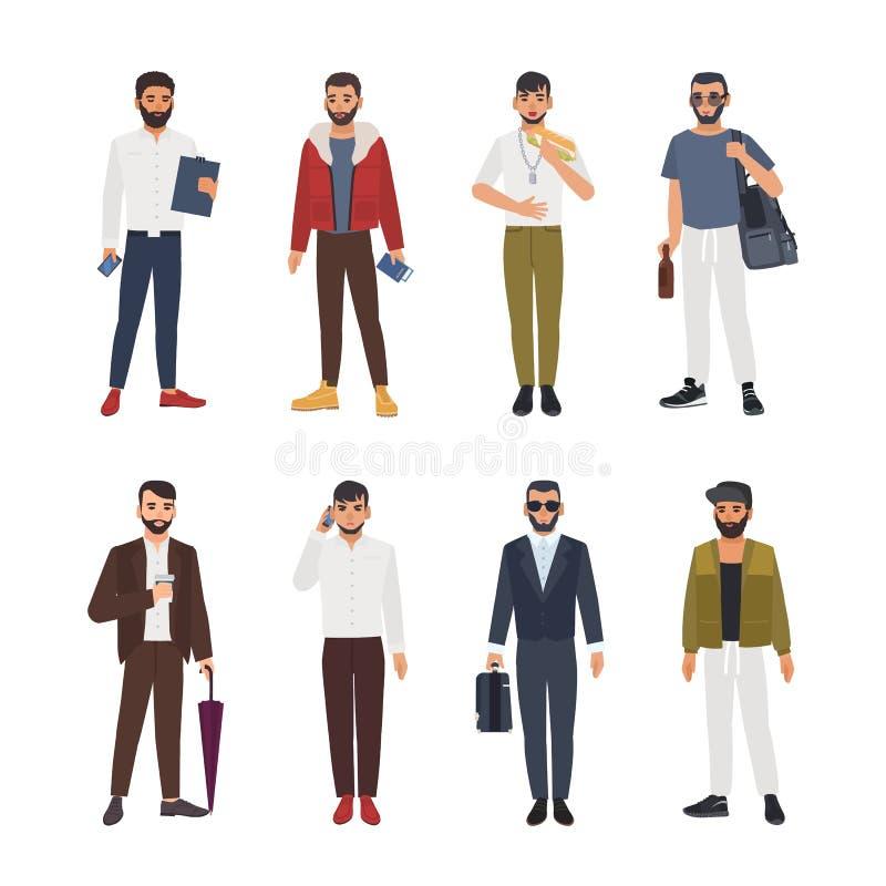 Samlingen av tillfälligt för caucasian skäggiga män iklädd och formellt kläder och anseende i olikt poserar Manlig tecknad film royaltyfri illustrationer