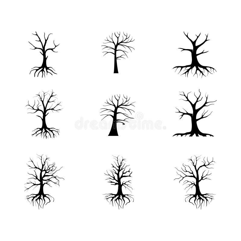 Samlingen av torra och ointressanna träd royaltyfri illustrationer