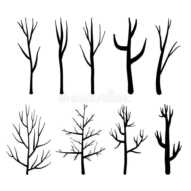Samlingen av trädkonturer, isolerade nakna träd ställde in på vit bakgrund vektor illustrationer