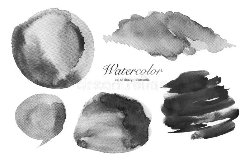 Samlingen av vattenfärghanden målade designbeståndsdelbakgrund royaltyfri fotografi