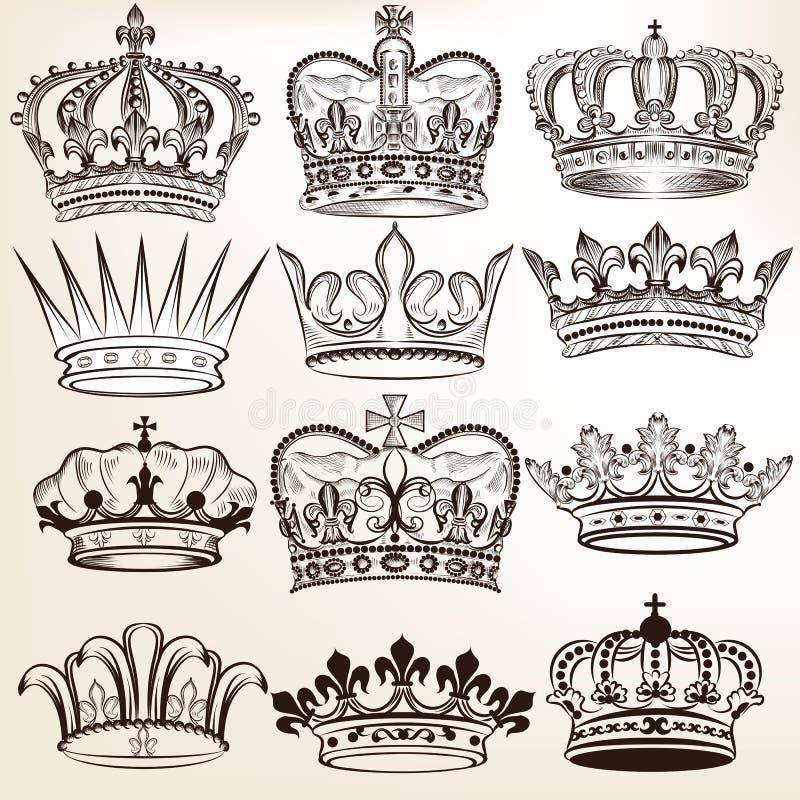 Samlingen av vektorkunglig person krönar för heraldisk design stock illustrationer