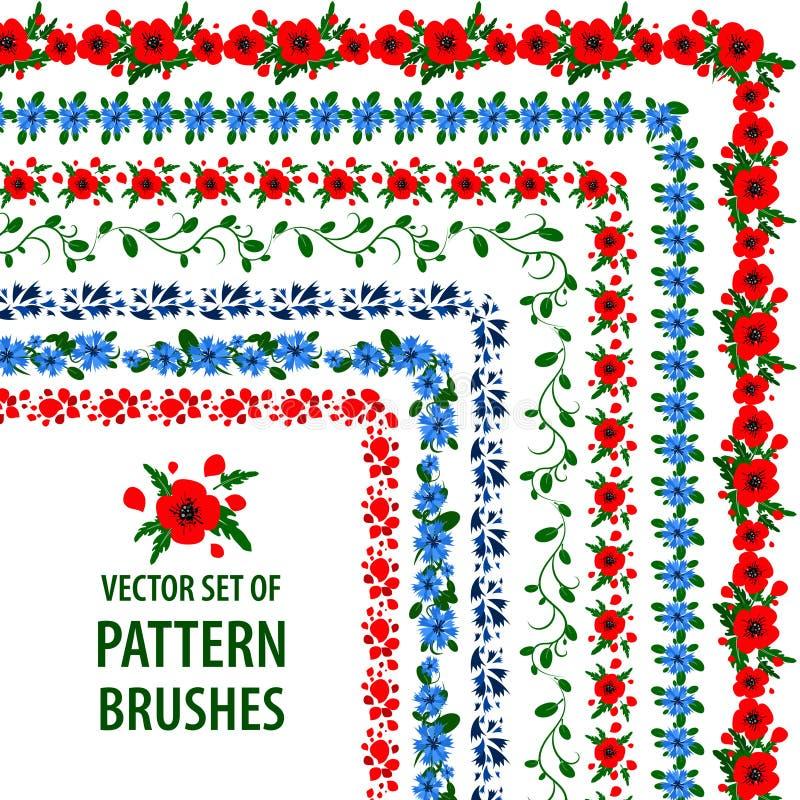 Samlingen av vektormodellen borstar med vallmo och blåklinter borders dekorativa ramar stock illustrationer