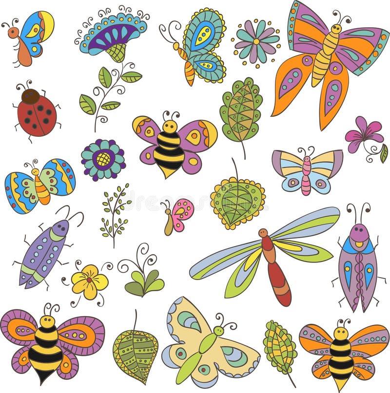 Samlingen av vektorn buggar, fjärilen, lämnar och blommar royaltyfri illustrationer