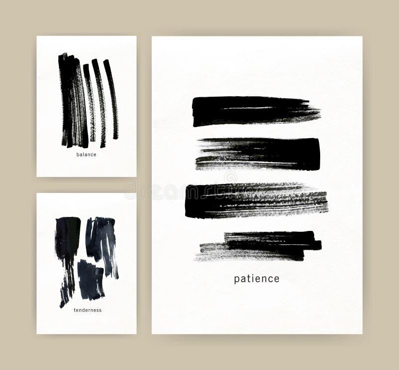 Samlingen av vertikala minimalistic affisch-, reklamblad- eller kortmallar med svart färgpulver eller målarfärgspår, kludd, klott vektor illustrationer