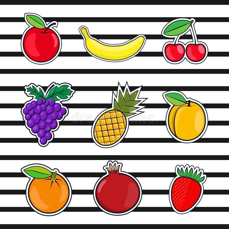 Samlingen bär frukt symboler i en plan stil av popkonst vektor illustrationer