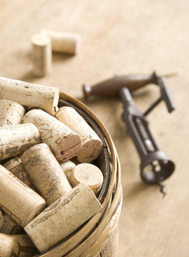 samlingen corks wine royaltyfria bilder