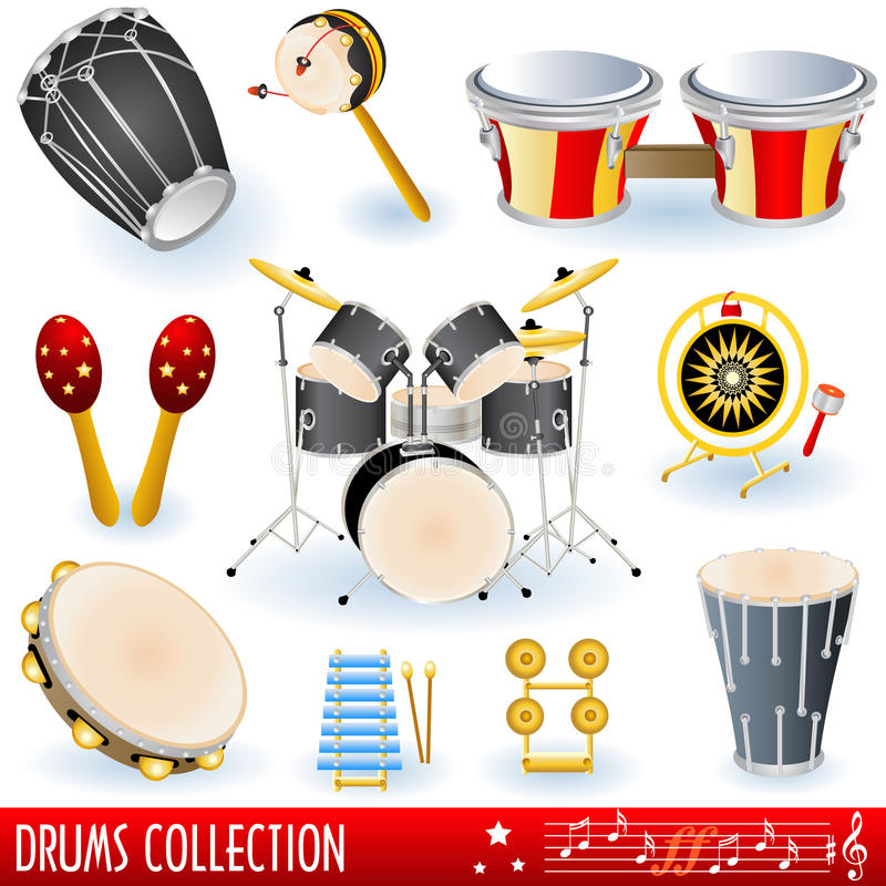 samlingen drums musik royaltyfri illustrationer