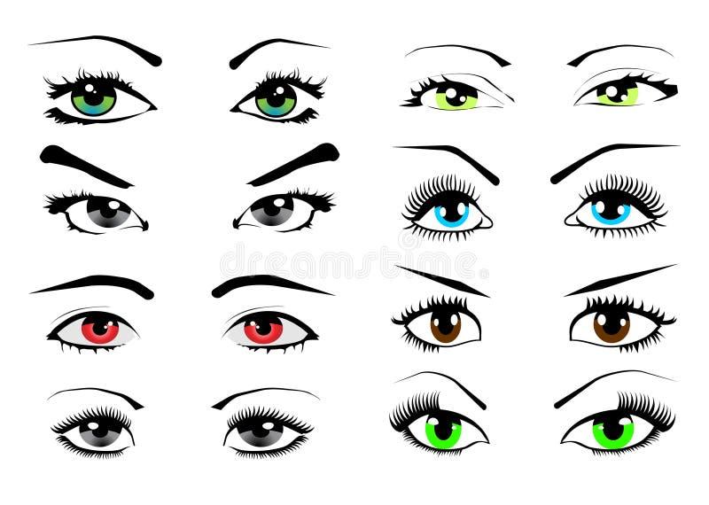 samlingen eyes illustrationvektorkvinnan vektor illustrationer
