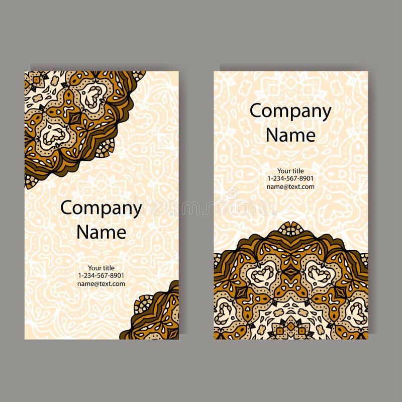 samlingen för affärskort planlägger dynamiskt modernt Prydnaden för din design med snör åt mandalaen Det kan vara nödvändigt för  royaltyfri illustrationer