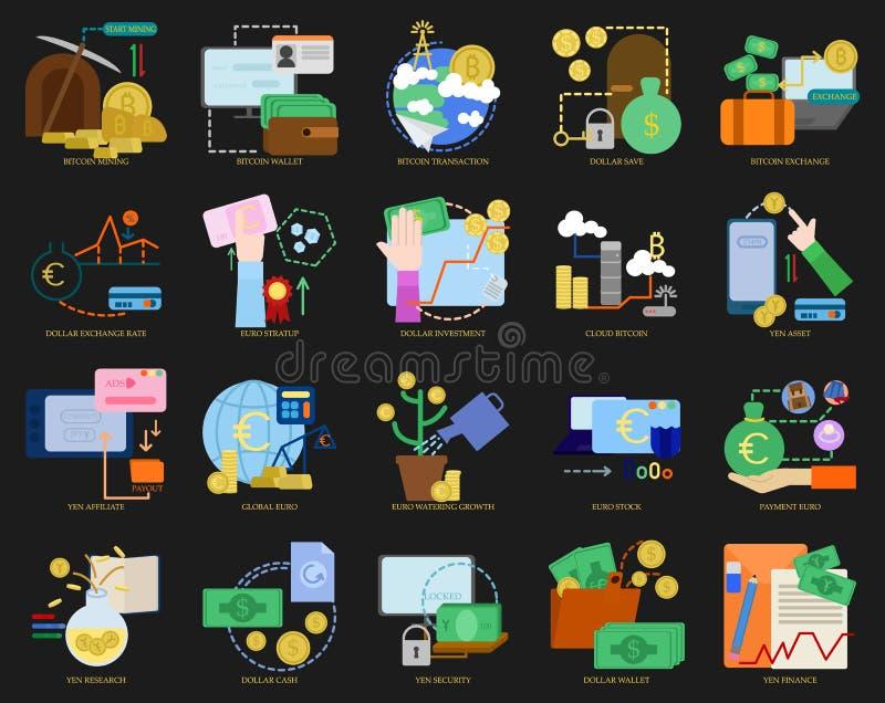 Samlingen för affärstemabeståndsdelar, plana symboler ställde in royaltyfri illustrationer