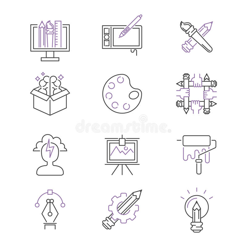 Samlingen för den fastställda för vektorn för konstsymboler gör tunnare den grafiska för illustrationen för designen linjära för  stock illustrationer