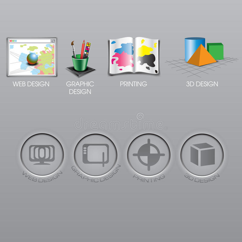Samlingen för rengöringsdukdesignen, för den grafiska designen, tryck- och för symboler 3d ställde in stock illustrationer