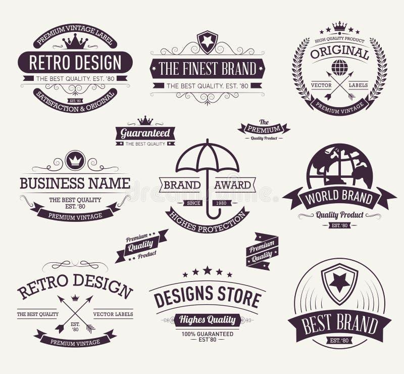 Samlingen för typografilogodesignen, Retro tappning märker samlingen konstruktionsillustrationmateriel under vektor stock illustrationer