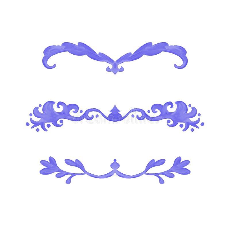 Samlingen för vattenfärgdesignbeståndsdelar för understrykningar och kapitlet stycker avdelare eller grafikgränser vektor illustrationer