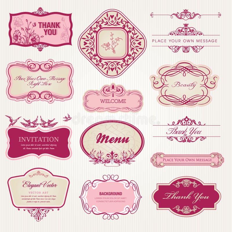 samlingen märker etikettstappning royaltyfri illustrationer