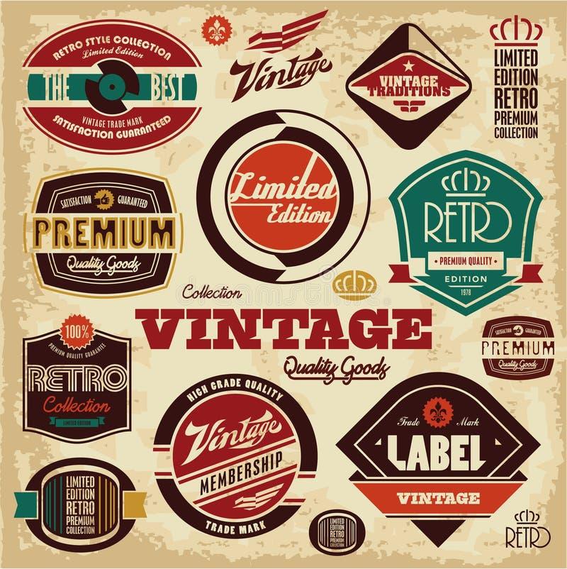 samlingen märker tappning retro design stock illustrationer