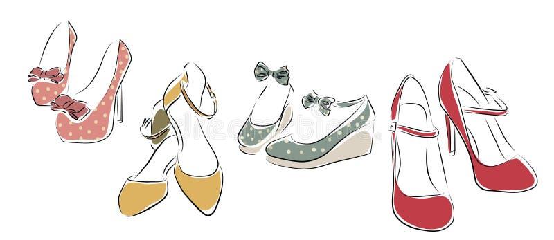 samlingen shoes kvinnan stock illustrationer