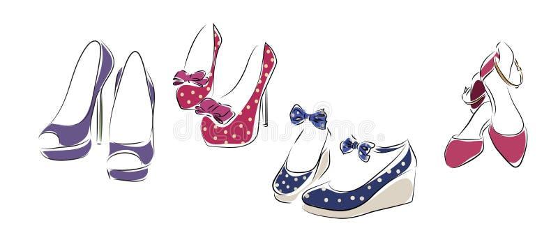 samlingen shoes kvinnan royaltyfri illustrationer