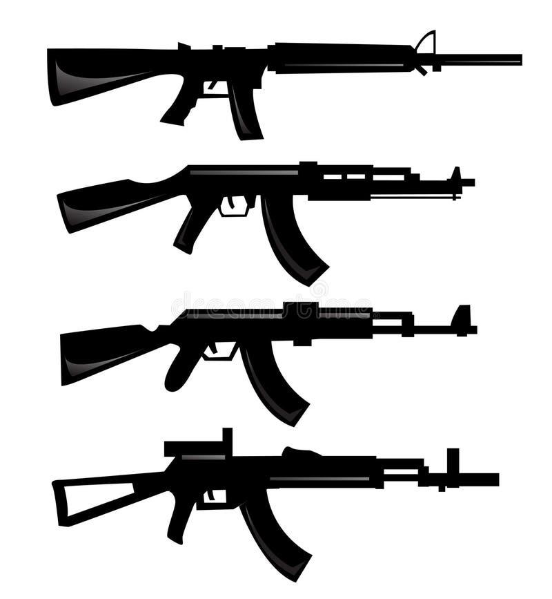 samlingen silhouettes vektorvapen stock illustrationer