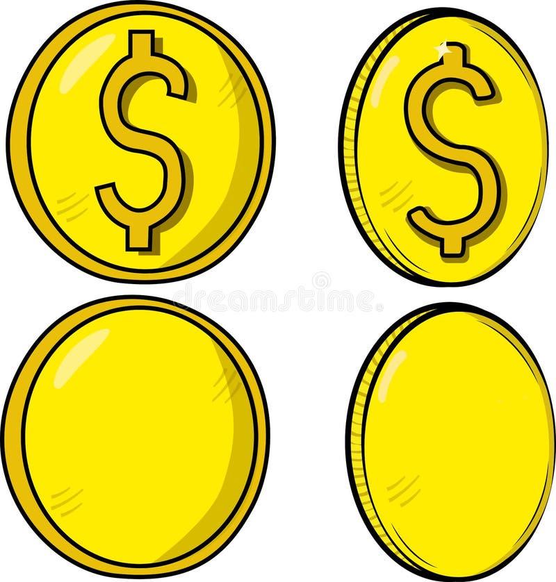 Samlingen/ställde in av mynt/pengar med en gulaktig signal, två med dollarsymbol och två blanko Vektor av valuta vektor illustrationer