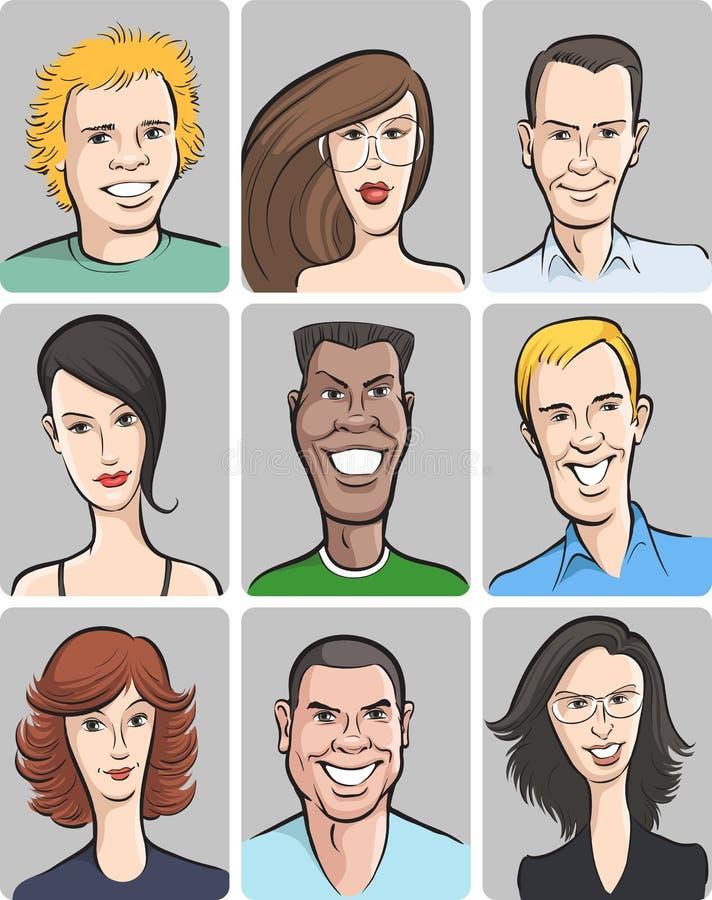 samlingen vänder män som mot ler kvinnor royaltyfri illustrationer