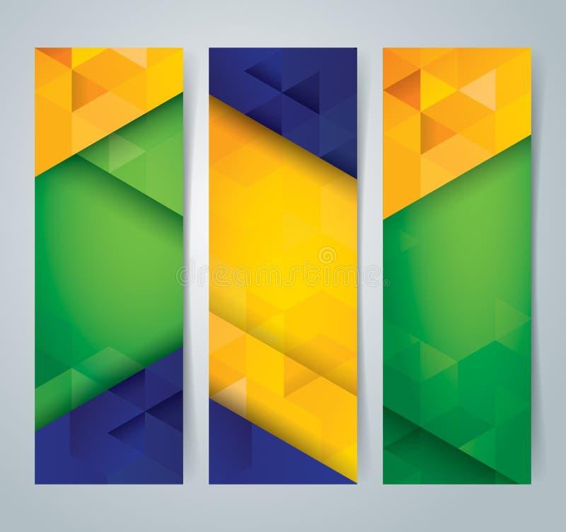 Samlingsbanerdesign, bakgrund för Brasilien flaggafärg royaltyfri illustrationer