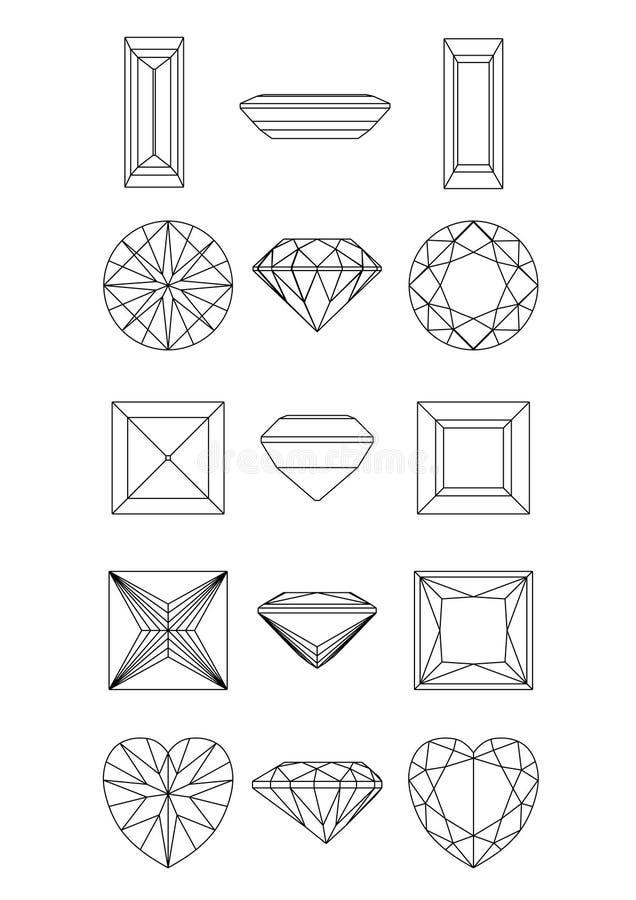 samlingsdiamanten shapes wirefram vektor illustrationer