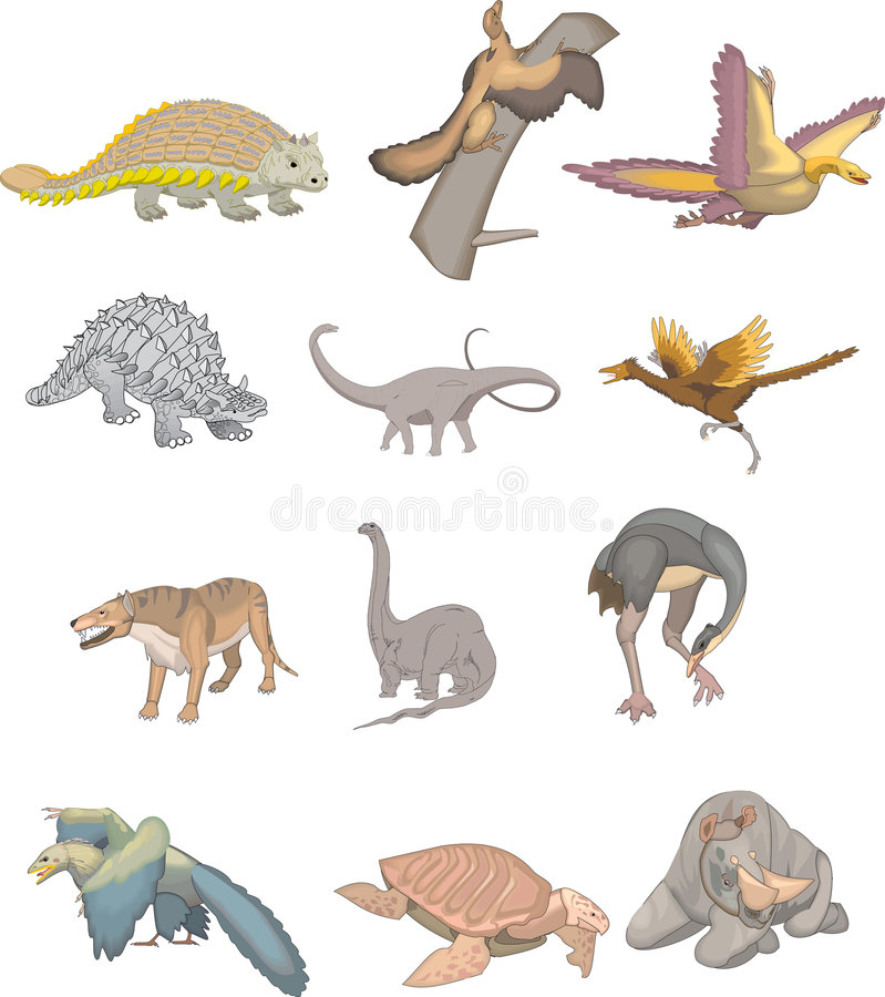 samlingsdinosaur stock illustrationer