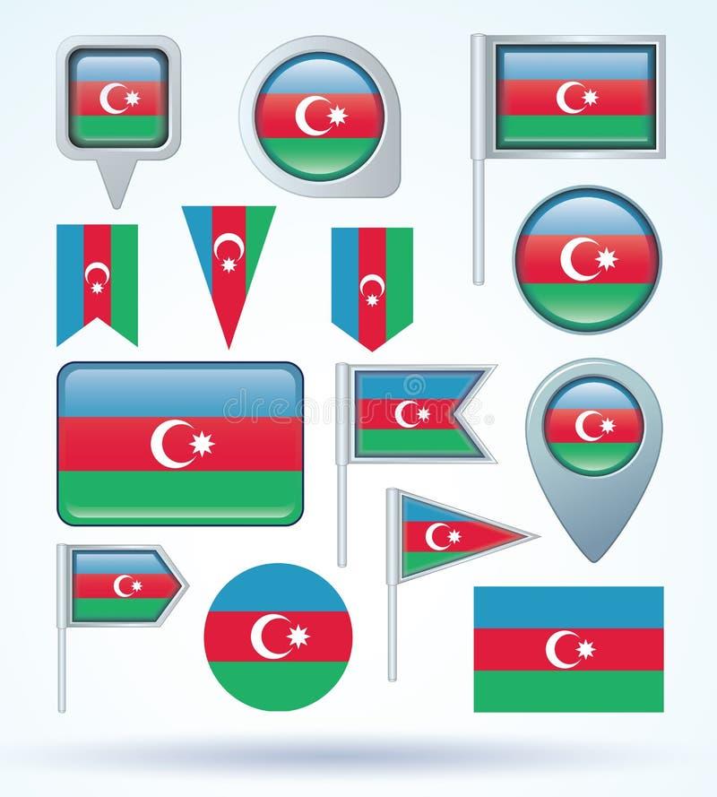 Samlingsflagga av Azerbajdzjan, vektorillustration stock illustrationer