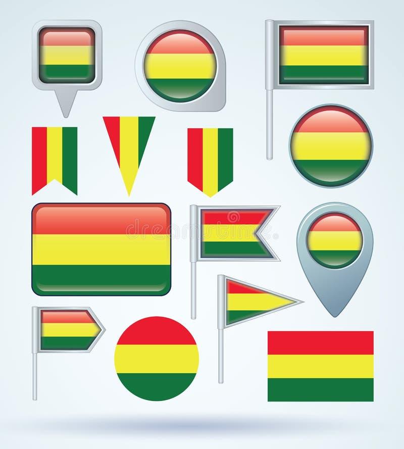 Samlingsflagga av Bolivia, vektorillustration royaltyfri illustrationer