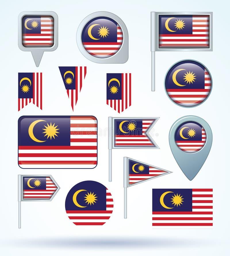 Samlingsflagga av Malaysia, vektorillustration stock illustrationer