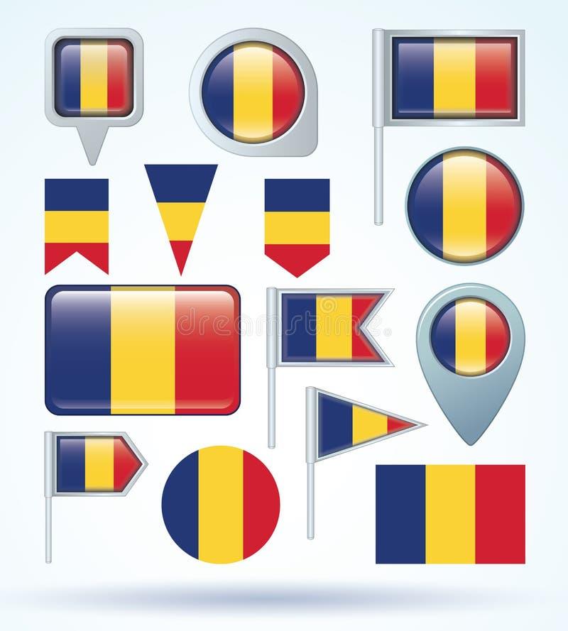 samlingsflagga av Rumänien, vektorillustration royaltyfri illustrationer