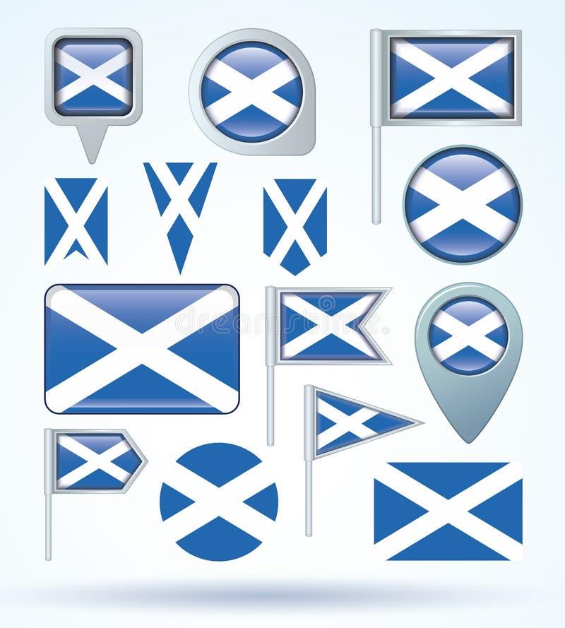Samlingsflagga av Skottland, vektorillustration royaltyfri illustrationer