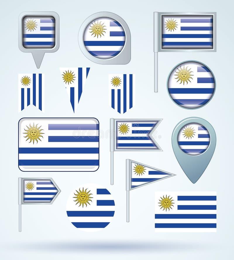 Samlingsflagga av Uruguay, vektorillustration royaltyfri illustrationer