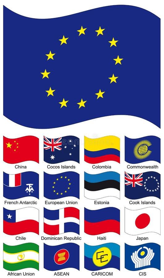 samlingsflaggavektor stock illustrationer