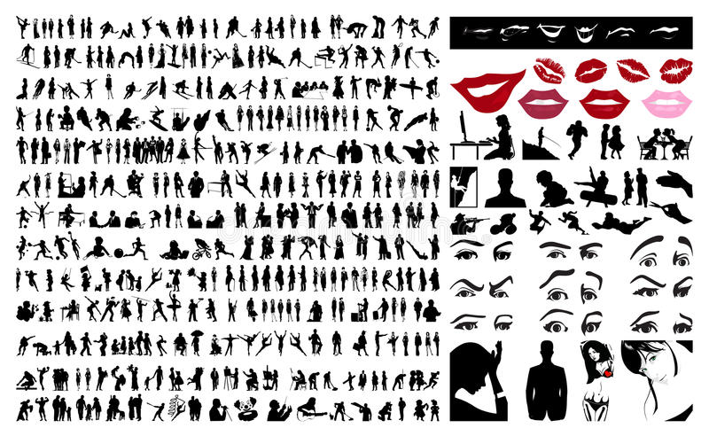 samlingsfolksilhouettes stock illustrationer