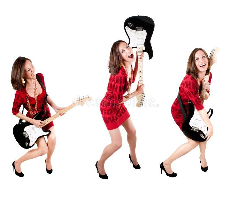 Samlingsfoto av en gullig gitarristkvinna arkivbild