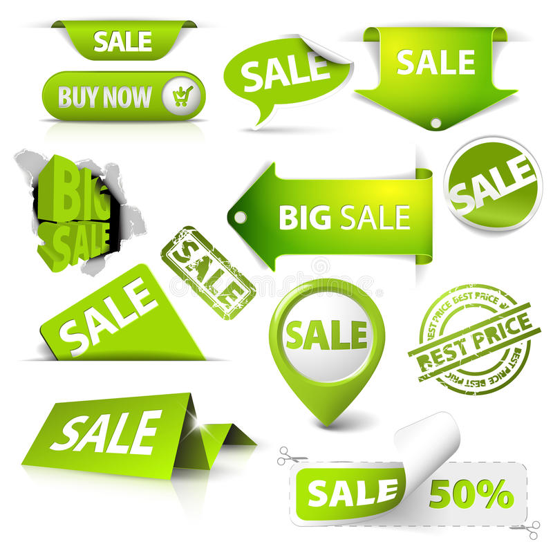 samlingsgreen märker försäljningsstämpeljobbanvisningar stock illustrationer