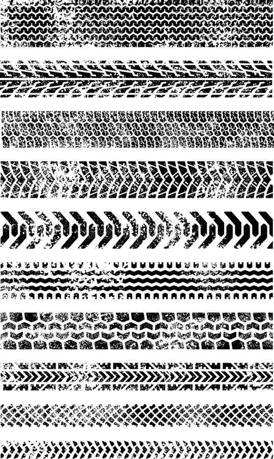 samlingsgrungehighquality tio gummihjulspår royaltyfri illustrationer